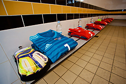 NEWPORT, WALES - Friday, August 31, 2018: The shirt of Wales' goalkeeper Laura O'Sullivan in the dressing room before the FIFA Women's World Cup 2019 Qualifying Round Group 1 match between Wales and England at Rodney Parade. (Pic by David Rawcliffe/Propaganda)