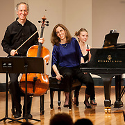 June 12, 2012 - New York, NY : Cellist Eric Bartlett, left, and pianist Margaret Kampmeier, center, smile after performing Paul Suits's 'Fantasy' (1984, rev. 2011) during the Institute & Festival for Contemporary Performance 2012 at the Mannes Concert Hall in Manhattan on Tuesday night. CREDIT: Karsten Moran for The New York Times