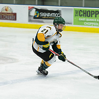 5th year forward Kylee Kupper (21) of the Regina Cougars in action during the Women's Hockey home game on October 13 at Co-operators arena. Credit: Arthur Ward/Arthur Images
