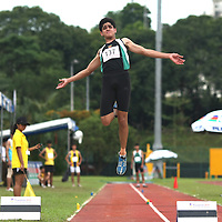 Choa Chu Kang Stadium, Tuesday, April 3, 2012 &mdash; Shashi Hazra of Raffles Institution jumped 6.78 metres to capture gold in the A Division Boys&rsquo; Long Jump at the 53rd National Schools Track and Field Championships.<br />