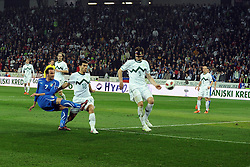 25.03.2011, SRC Stozice, Ljubljana, SLO, EURO 2012 Qualifikation, Slovenia vs Italy, im Bild Giampaolo Pazzini Italia colpisce il palo. EXPA Pictures © 2011, PhotoCredit: EXPA/ InsideFoto/ Nicolo Zangirolami +++++ ATTENTION - FOR AUSTRIA/AUT, SLOVENIA/SLO, SERBIA/SRB an CROATIA/CRO CLIENT ONLY +++++