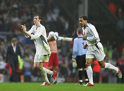LIVERPOOL, ENGLAND - SUNDAY MARCH 27th 2005: Celebrity XI's Ralf Little and Harvey (R) during the Tsunami Soccer Aid match at Anfield. (Pic by David Rawcliffe/Propaganda)