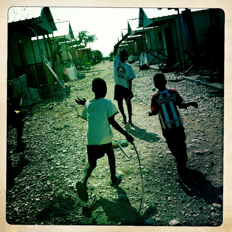 Boys play at the Corail camp on Wednesday, April 4, 2012 in Port-au-Prince, Haiti.