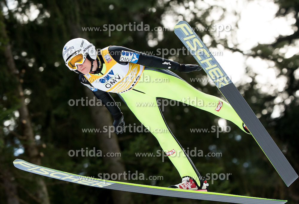 Daniela Iraschko-Stolz (AUT) during Trial Round at Day 1 of World Cup Ski Jumping Ladies Ljubno 2015, on February 14, 2015 in Ljubno, Slovenia. Photo by Vid Ponikvar / Sportida