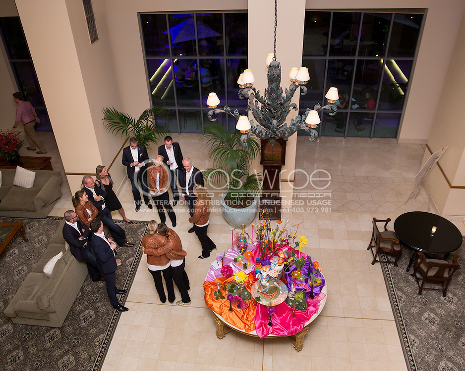 Barbara Rittner (GER), Andrea Petkovic (GER), Anna-Lena Groenefeld (GER), Julia Görges (GER) And Angelique Kerber (GER), April 17, 2014 - TENNIS : Federations Cup, Semi-Final, Australia v Germany, Official Dinner, Stamford Plaza Hotel, Brisbane, Victoria, Australia. Credit: Lucas Wroe