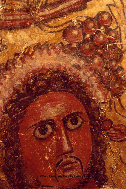 Only Arabian murals discovered to date are at al--Fau.  This one, of handmaiden with downcast eyes and diadem-wearing dignitary, perhaps a king, is of late period and testifies to artist's skill with color. National  Museum of Saudi Arabia, Riyadh, Saudi Arabia