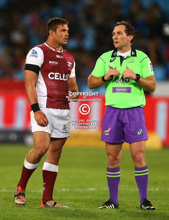 Pretoria, SOUTH AFRICA, - Friday 18 March,  Franco Marais of the Cell C Sharks with Referee Glen Jackson (New Zealand) during the Vodacom Bulls vs The Cell C Sharks Super rugby match at Loftus Versfeld, Pretoria, South Africa. (Photo by Steve Haag)<br /> <br /> images for social media must have consent from Steve Haag