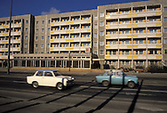 GDR, German Democratic Republic, Potsdam, GDR typical appartment houses at the street Breite Strasse, buildings made with precast concrete slabs.....DDR, Deutsche Demokratische Republik, Potsdam, Plattenbauten in der Breiten Strasse...Januar/January 1990....