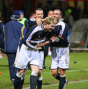 IRN BRU Scottish League First Division<br /> Dens Park, Dundee 29/12/2007<br /> <br /> Eddie Malone and Paul McHale congratulate Kevin McDonald after the teenager's last gasp winner for Dundee<br /> <br /> David Young<br /> <br /> Monifieth<br /> Dundee<br /> <br /> Tel: <br /> Email: davidy233@gmail.com