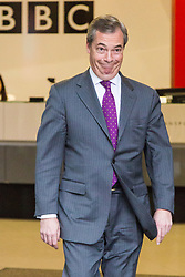 London, December 03 2017. Former UKIP leader Nigel Farage leaves the Andrew Marr Show at the BBC's New Broadcasting House in London.. © Paul Davey
