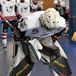 GEORGETOWN, ON - DECEMBER 22: Nathan Torchia #35 of the Georgetown Raiders prepares for the warm-up on December 22, 2018 at Gordon Alcott Memorial Arena in Georgetown, Ontario, Canada.<br /> (Photo by Ken Lamb / OJHL Images)