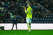 Patrick Bamford of Leeds United (9) claps the Leeds fans as he is subbed off during the EFL Sky Bet Championship match between Preston North End and Leeds United at Deepdale, Preston, England on 9 April 2019.