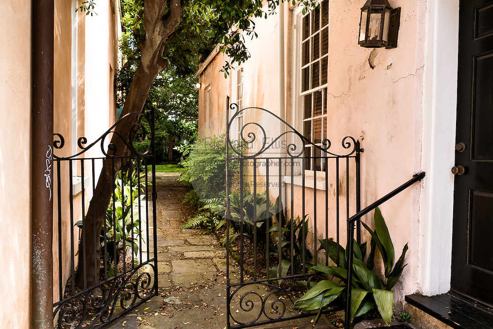 The garden gate to St Philips Church along Queen Street in historic Charleston, SC.
