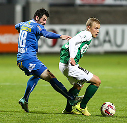 24.10.2014, Sportplatz FAC, Wien, AUT, 2. FBL, Floridsdorfer AC vs SV Mattersburg, 16. Runde, im Bild Furkan Aydogdu (Floridsorfer AC) und Sven Sprangler (SV Mattersburg) // during Austrian Football Second Bundesliga Match, 16th round, between Floridsdorfer AC and SV Mattersburg at the Sportplatz FAC, Vienna, Austria on 2014/10/24. EXPA Pictures © 2014, PhotoCredit: EXPA/ Alexander Forst