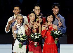 23.03.2010, Torino Palavela, Turin, ITA, ISU World Figure Skating Championships Turin 2010 im Bild, Paarlauf Qing Pang and Jia Tong (CHN) gols medal, Aliona Savchenko and Robin Szolkowy (GER) silver medal, Yuko Kavaguti and Alexander Smirnov (RUS) bronze medal, EXPA Pictures © 2010, PhotoCredit: EXPA/ InsideFoto/ Perottino / SPORTIDA PHOTO AGENCY