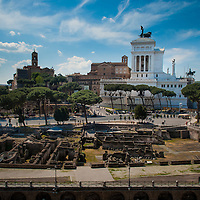 "View from the Trajan Forum on the Typewriter ""Wedding Cake"" Monument, the Forum Romanum and the Capitoline Hill"