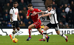 Jens Hegeler of Bristol City goes past Jacob Butterfield of Derby County - Mandatory by-line: Robbie Stephenson/JMP - 11/02/2017 - FOOTBALL - iPro Stadium - Derby, England - Derby County v Bristol City - Sky Bet Championship