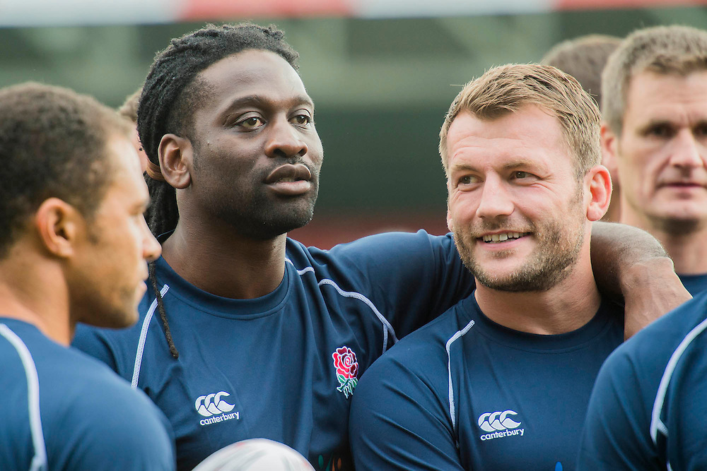 Mark Cueto and Paul Sackey - Training starts for inaugural RUGBY AID 2015 charity match which takes place on Friday 4th September 2015 at the Twickenham Stoop. The celebrity charity game will be in aid of RUGBY FOR HEROES  of which Mike Tindall MBE is Patron. The charity raises funds and awareness through the sport of rugby, the fan community and the wider professional player network, to support military personnel who are making the transition back from military service to civilian life. The teams (England v's Rest of the World) include former international rugby players, celebrities and serving members of the armed forces. Harlequins Rugby , The Stoop, Twickenham, London UK, 02 Sept 2015