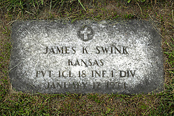 31 August 2017:   Veterans graves in Park Hill Cemetery in eastern McLean County.<br /> <br /> James K Swink Kansas Private 1Cl 18 INF 1 DIV January 17 1931