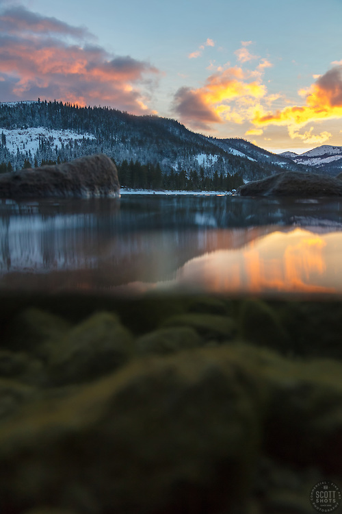 """""""Donner Lake Sunset 36"""" - Over/Under sunset photograph of Donner Lake in Truckee, California. The camera was in a waterproof housing and half in the water."""