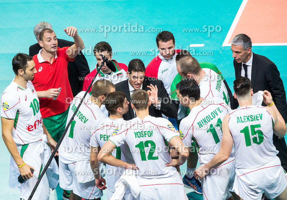 Plamen Konstantinov, head coach of Bulgaria with players during volleyball match between National teams of France and Bulgaria in 2nd Semifinal of 2015 CEV Volleyball European Championship - Men, on October 17, 2015 in Arena Armeec, Sofia, Bulgaria. Photo by Vid Ponikvar / Sportida