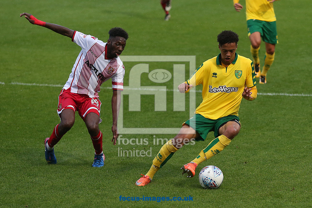 Blair Turgott of Stevenage and Jamal Lewis of Norwich in action during the Pre-season Friendly match at the Lamex Stadium, Stevenage<br /> Picture by Paul Chesterton/Focus Images Ltd +44 7904 640267<br /> 11/07/2017