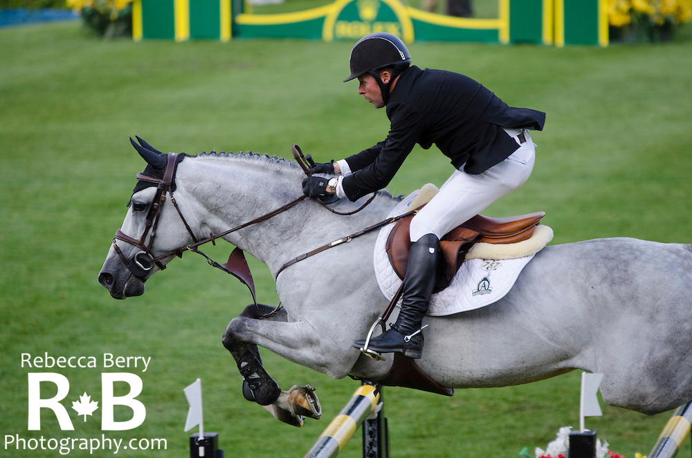 Eric Lamaze (CAN) on Houston during the Bantrel Cup at Spruce Meadows June 3, 2015.