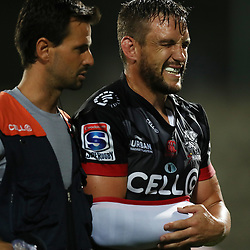 DR Alan Kourie with Keegan Daniel of the Cell C Sharks during The Cell C Sharks Pre Season warm up game 2 Cell C Sharks A and Toyota Cheetahs A,at King Zwelithini Stadium, Umlazi, Durban, South Africa. Friday, 3rd February 2017 (Photo by Steve Haag)