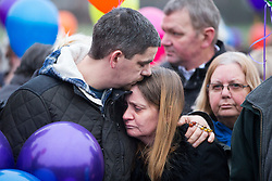 © Licensed to London News Pictures. 16/01/2017. York UK.Picture shows Katie Rough's parents Paul Rough & Alison Rough, the couple where joined by hundreds of people in Westfield Park in York this afternoon to release balloons on what would have been Katie's 8th birthday. Katie died last week after being found with significant cuts to her neck & chest.  Photo credit: Andrew McCaren/LNP