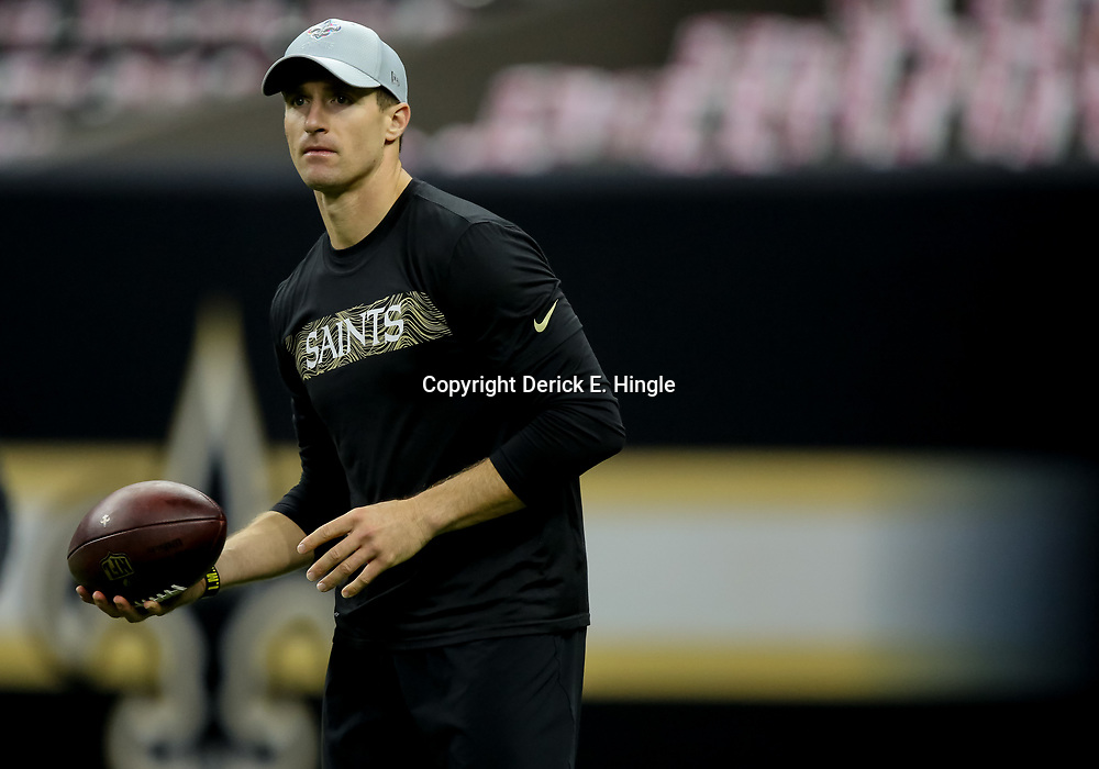 Oct 8, 2018; New Orleans, LA, USA; New Orleans Saints quarterback Drew Brees (9) before a game against the Washington Redskins at the Mercedes-Benz Superdome. Mandatory Credit: Derick E. Hingle-USA TODAY Sports