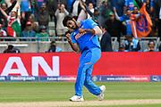 India win - Wicket - Jasprit Bumrah of India celebrates taking the wicket of Mustafizur Rahman of Bangladesh during the ICC Cricket World Cup 2019 match between Bangladesh and India at Edgbaston, Birmingham, United Kingdom on 2 July 2019.