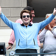 2016 U.S. Open - Day 6   Billie Jean King waves to the crowd during the Andy Murray of Great Britain against Paolo Lorenzi of Italy Men's Singles round three match on Arthur Ashe Stadium on day six of the 2016 US Open Tennis Tournament at the USTA Billie Jean King National Tennis Center on September 3, 2016 in Flushing, Queens, New York City.  (Photo by Tim Clayton/Corbis via Getty Images)