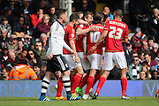 Nottingham Forest midfielder Robert Tesche (32) celebrating scoring goal 0-1 during the Sky Bet Championship match between Fulham and Nottingham Forest at Craven Cottage, London, England on 23 April 2016. Photo by Matthew Redman.
