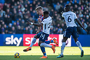 Crystal Palace (9) Aleksander Sorloth, Davinson Sanchez (6) of Tottenham Hotspur, Serge Aurier (24) of Tottenham Hotspur during the Premier League match between Crystal Palace and Tottenham Hotspur at Selhurst Park, London, England on 25 February 2018. Picture by Sebastian Frej.