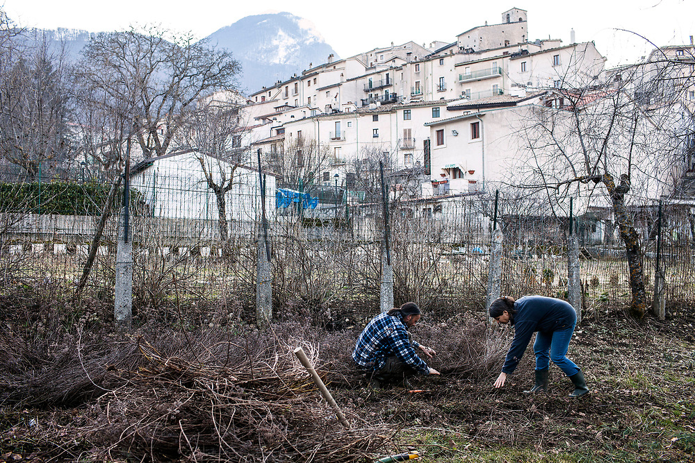 16 Febraury 2017, Civitella Alfedana AQ Italy - Two private farmers working on  their field inside the small village of Civitella Alfedana.