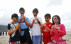 Conor Halberd, Morgan Glynn, Ciaran Halberd, Mason Glynn and Minette Glynn from Caherlistrane pictured on Keel beach Achill where the Tin Whistle world record attempt took place..Pic Conor McKeown