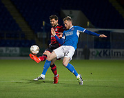 06/10/2017 - St Johnstone v Dundee - Dave Mackay testimonial at McDiarmid Park, Perth, Picture by David Young - Dundee's Kostadin Gadzhalov battles for the ball with St Johnstone's Denny Johnstone