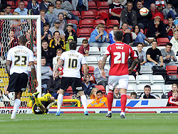 Bristol City Goalkeeper, Frank Fielding saves from Peterborough United's Lee Tomlin's penalty  - Photo mandatory by-line: Joe Meredith/JMP - Tel: Mobile: 07966 386802 14/09/2013 - SPORT - FOOTBALL -  Ashton Gate - Bristol - Bristol City V Peterborough United - Sky Bet League One
