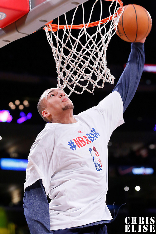 11 February 2014: Utah Jazz center Rudy Gobert (27) warms up prior to the Utah Jazz 96-79 victory over the Los Angeles Lakers at the Staples Center, Los Angeles, California, USA.
