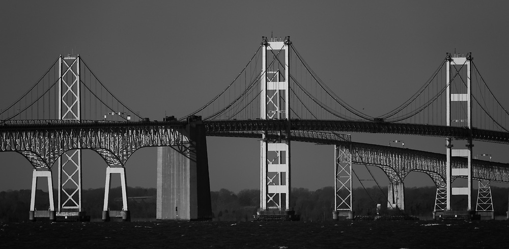 Chesapeake Bay Bridge, Maryland. A black and white photograph.