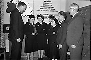 31/03/1963<br /> 03/31/1963<br /> 31 March 1963<br /> Civil Defence Competitions at Jervis Street Hospital, Dublin sponsored by W.D. &amp; H.O. Wills Ltd., for the Gold Flake Trophy. Picture shows (l-r): Mr. D.R. Mott, General Manager Wills, and winning Rathmines team, Miss Frances Todd; Miss Carmel Doyle; Miss Eithne McManus and Mrs F. Brierton with their instructor Mr. Steve Donoghue and Mr. Michael O'Brien, Dublin Civil Defence Officer.