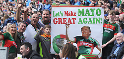 A humorous Mayo banner at the All Ireland Football Final<br /> Pic Conor McKeown