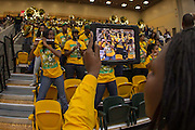 The Norfolk State Spartan Legion Band performs during the Norfolk State - Hampton 2013 MEAC women's basketball game at the Echols Hall in Norfolk, Virginia.  January 26, 2013  Hampton won 76-41.  (Photo by Mark W. Sutton)