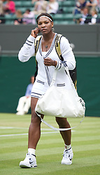 LONDON, ENGLAND - Saturday, June 25, 2011: Serena Williams (USA) walks on court wearing a cardican during the Ladies' Singles 3rd Round match on day six of the Wimbledon Lawn Tennis Championships at the All England Lawn Tennis and Croquet Club. (Pic by David Rawcliffe/Propaganda)