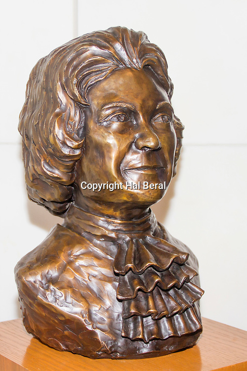Bust of Sandra Day O'Connor, first female Justice of the U.S> Supreme Court on display at the U.S> Supreme Court Building.Washington, D.C.