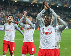 15.03.2018, Red Bull Arena, Salzburg, AUT, UEFA EL, FC Salzburg vs Borussia Dortmund, Achtelfinale, Rueckspiel, im Bild der Jubel nach dem Spiel von v. l. Munas Dabbur (FC Salzburg), Hannes Wolf (FC Salzburg), Amadou Haidara (FC Salzburg) und Fredrik Gulbrandsen (FC Salzburg) // during the UEFA Europa League Round of 16, 2nd Leg Match between FC Salzburg and Borussia Dortmund at the Red Bull Arena in Salzburg, Austria on 2018/03/15. EXPA Pictures © 2018, PhotoCredit: EXPA/ Martin Huber