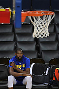 May 30, 2018; Oakland, CA, USA; Golden State Warriors forward Kevin Durant (35) looks on during NBA Finals media day at Oracle Arena.