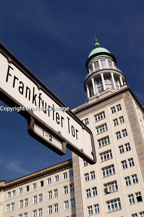 Street sign on Karl Marx Allee next to Frankfurter Tor in Berlin Germany