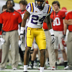 Dec 3, 2011; Atlanta, GA, USA; LSU Tigers defensive back Tharold Simon (24) against the Georgia Bulldogs during the second half of the 2011 SEC championship game at the Georgia Dome.  Mandatory Credit: Derick E. Hingle-US PRESSWIRE