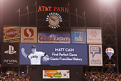 SAN FRANCISCO, CA - JUNE 13: Detailed view of the San Francisco Giants scoreboard after the game against the Houston Astros at AT&T Park on June 13, 2012 in San Francisco, California. Cain pitched a perfect game as the San Francisco Giants defeated the Houston Astros 10-0. (Photo by Jason O. Watson/Getty Images) *** Local Caption ***